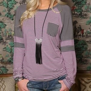 Cruel Girl maroon and white tee with gray sleeves